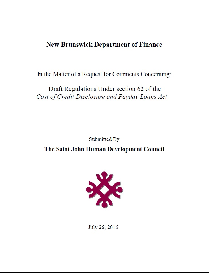 Response to Draft Regulations Under section 62 of the Cost of Credit Disclosure and Payday Loans Act