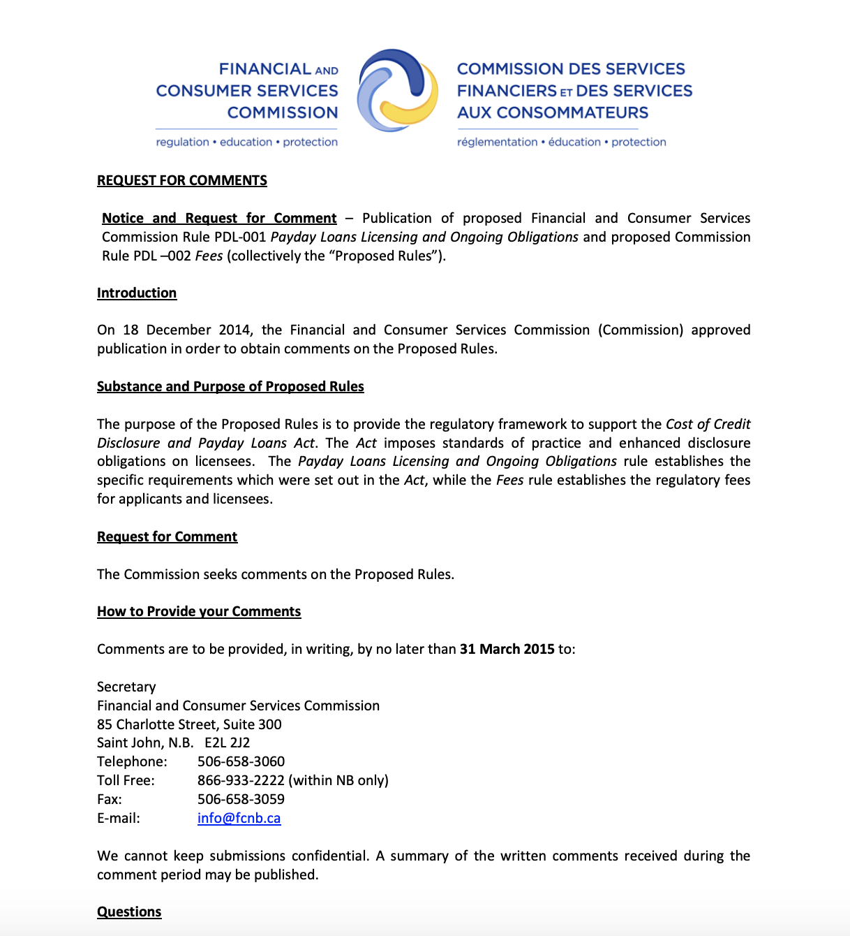 Initial Request for Comments from the Financial and Consumer Services Commission