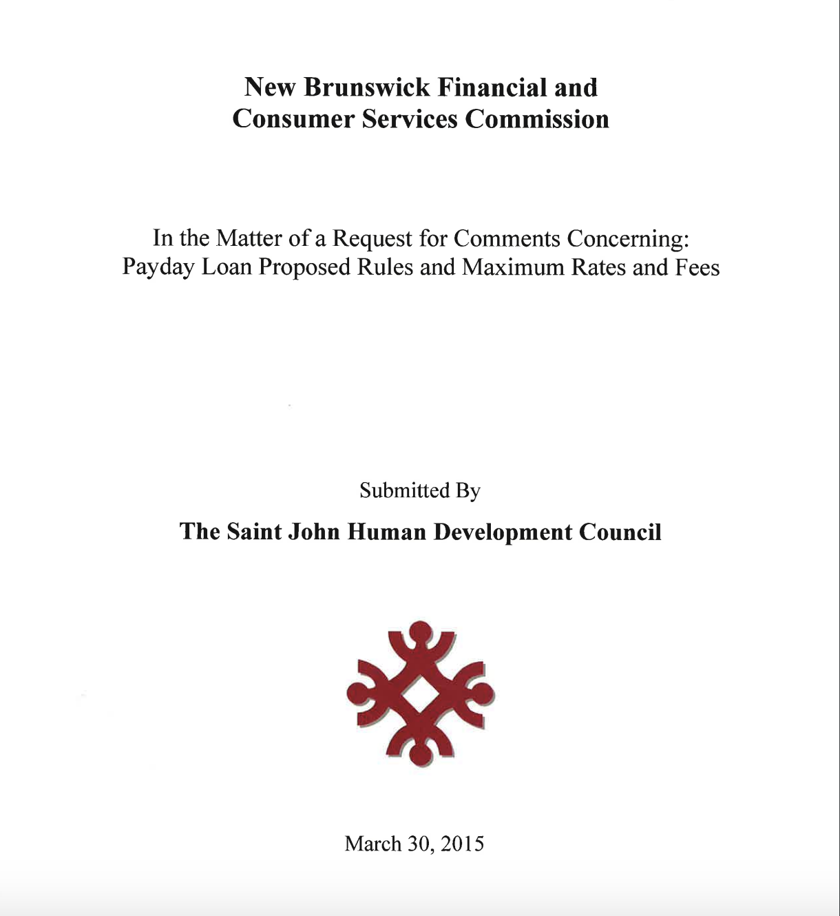 Final Submission to New Brunswick Financial and Consumers Services Commission regarding Pay Day Loans