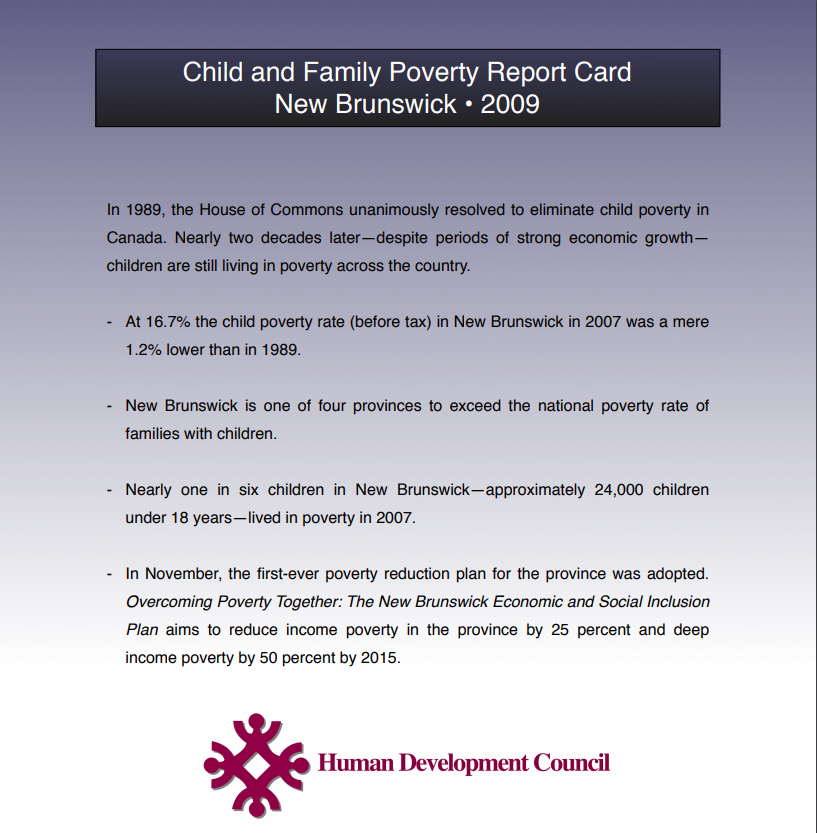 2009 New Brunswick Child Poverty Report Card